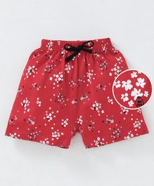 Fido Shorts With Drawstrings Floral Print - Red