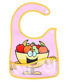 1st Step Baby Bib  With Crumb Catcher Fruits Print - Pink