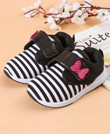 7f6f952f63d21 Cute Walk by Babyhug Striped Casual Shoes With Bow Motif - Black