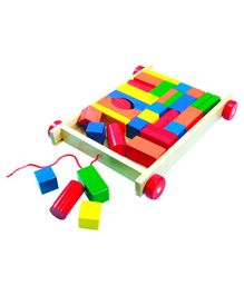 Bino Wooden Cart With Coloured Blocks - Multicolor