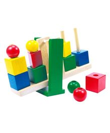 Bino Wooden Geolino With Coloured Shapes Multicolor - 13 Blocks