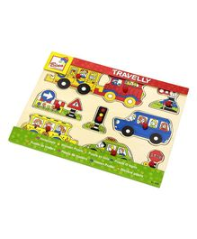 Bino Travelly Wooden Peg Puzzle - Multicolor