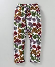 Swanky Me All Over Floral Printed Full Length Pajama - White
