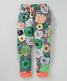 Swanky Me Flowers Printed Full Length Pajama - Green