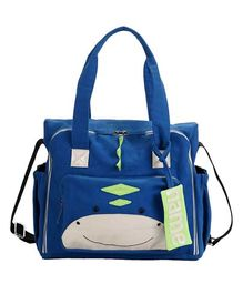 Mi Dulce An'ya Organic Diaper Bag Dinosaurs Face - Blue