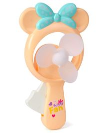 Mini Toy Fan With Bow - Light Yellow
