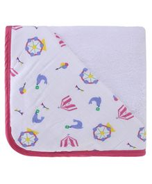 My Milestones Infant Hooded Towel Wrap - White Pink