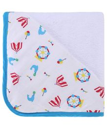 My Milestones Infant Hooded Towel Wrap -White Blue