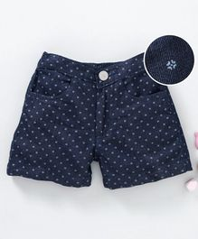 Babyhug Printed Denim Shorts - Dark Blue