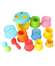 Bkids Giraffe Giant Stack N' Drop Buckets - Multicolour