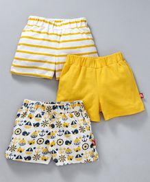 Nino Bambino Solid Striped & Dolphin Printed Shorts Pack Of Three - White & Yellow