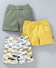 Nino Bambino Solid Striped & Cars Printed Shorts Pack Of Three - Yellow & Black