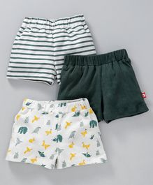 Nino Bambino Solid Striped & Animal Printed Shorts Pack Of Three - Green & White