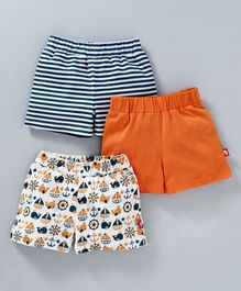 Nino Bambino Striped Solid & Boat Printed Shorts Pack Of Three - Orange & Blue