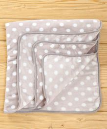 Baby Sherin & Poly Wool Blanket Polka Dots Design - Grey