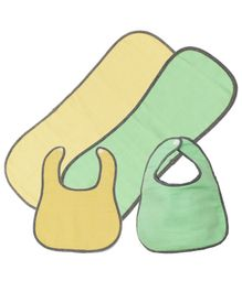 Kadambaby Bibs & Burp cloth Candy Print Pack of 2 - Green & Yellow
