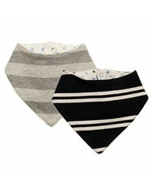 Kadambaby Bandana Bib Multiprint Pack of 2 - Grey & Black