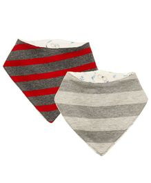 Kadambaby Bandana Bib Multiprint Pack of 2 - Grey & Red