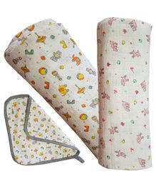 Kadam Baby Swaddle Blanket Toy & Animal Print Pack of 2 - Multicolour