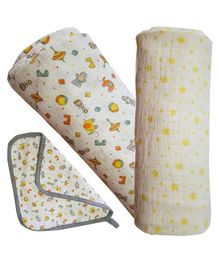 Kadam Baby Swaddle Blanket Star & Animal Print Pack of 2 - Multicolour
