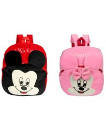 O Teddy Plush Mickey & Minnie Mouse School Bag Pack of 2 Red Pink - 14 Inches