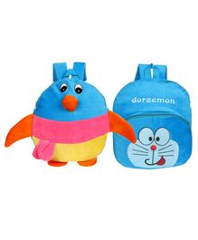 O Teddy Penguin & Doraemon School Bag Pack of 2 Blue - 14 Inches