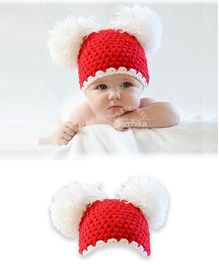 Bembika Knitted Chunky Woollen crochet Cap - Red White2 to
