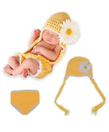 Bembika Knitted Baby Costume Photography Prop Set Sunflower Applique - Yellow
