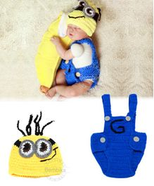 Bembika Knitted Baby Costume Photography Prop Set Minion Design - Yellow Blue