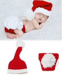 Bembika Knitted Baby Costume Photography Prop Set Santa Design - Red