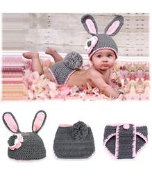Bembika Knitted Bunny Cap & Diaper Cover Photo Props Set - Grey