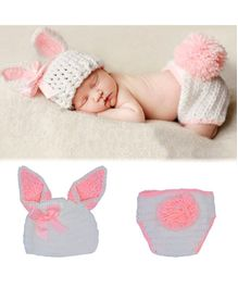 Bembika Knitted Bunny Cap & Diaper Cover Photo Props Set - White