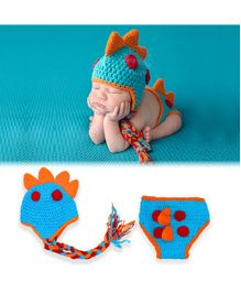 Bembika Knitted Baby Costume Photography Prop Set Dinosaur Design - Blue