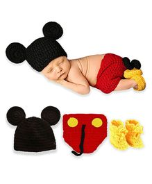 Bembika Newborn Lovely Knitted Chunky Cartoon Designer Photography Prop Red - Pack of 3