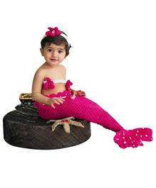 Bembika Newborn Lovely Knitted Photography Prop Set Mermaid Design - Pink