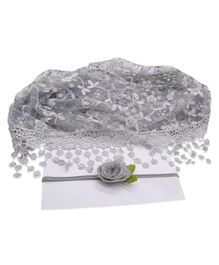Bembika Newborn Baby Embroidery Lace Wrapper For Baby Photography Props - Grey