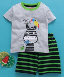 Babyhug Half Sleeves Printed T-Shirt & Shorts Set - Green Grey