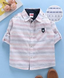 Babyhug Full Sleeves Striped Shirt With Pocket - Pink & White
