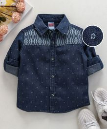 Babyhug Full Sleeves Printed Denim Shirt - Blue