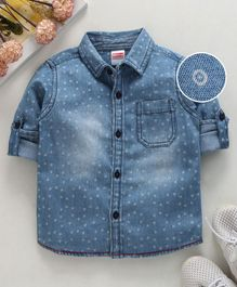 Babyhug Full Sleeves Printed Denim Shirt - Light Blue