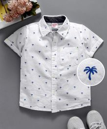 Babyhug Half Sleeves Shirt Palm Tree Print - White