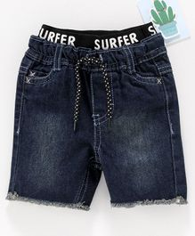 Fox Baby Ribbed Waist Denim Shorts - Dark Blue