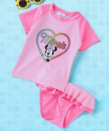 Fox Baby Half Sleeves Two Piece Swimsuit Minnie Mouse Print - Pink
