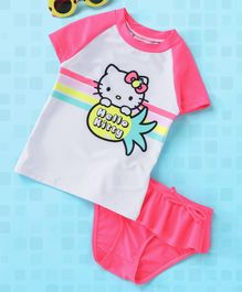 Fox Baby Half Sleeves Two Piece Swimsuit Hello Kitty Print - Pink & White