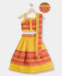 Young Birds Printed Sleeveless Choli With Lehenga & Dupatta Set - Yellow