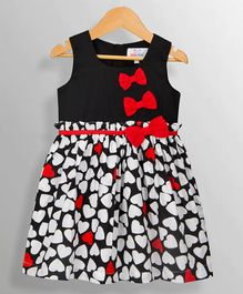 Young Birds Heart Print Sleeveless Dress - Black & Red