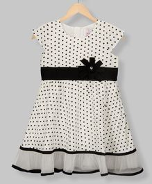 Young Birds Short Sleeves Polka Dot Print Dress - White