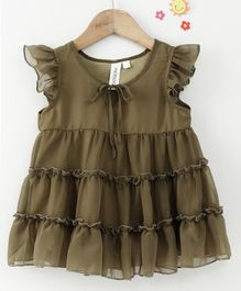 Pikaboo Solid Cap Sleeves Ruffle Dress - Brown