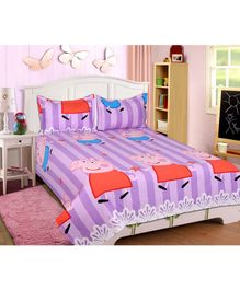 Sassoon Orro Peppa Pig Cotton Double Bed sheet with Two Pillow Covers - Multicolour