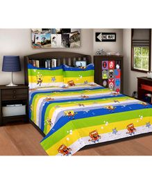 Sassoon Double Bedsheet With 2 Pillow Covers - Multicolour